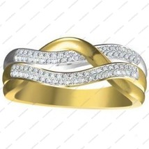 Diamond 14k Yellow Gold Plated 925 Sterling Silver Fancy Engagement Band Ring - $92.73