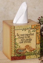 Primitive Tissue Box Cover Paper Mache' 8tb296bm-Bird Nest - Tissue Box  - $7.95