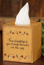 Primitive Tissue Box Cover Paper Mache' 8TB306-True Friendship   - $7.95