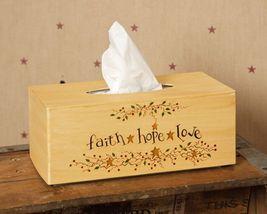 Primitive Tissue Box Cover Paper Mache' 8TB323-Faith Hope Love Rectangle  - $9.95