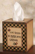 Primitive Tissue Box Cover Paper Mache' 8TB2505-Day Hemmed in Prayer - $7.95