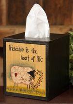 Primitive Tissue Box Cover Paper Mache' 8tb301-Friendship is the Heart.... - $7.95
