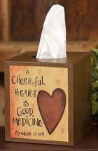 Primitive Tissue Box Cover Paper Mache'  8tb313-A Cheerful Heart   - $7.95