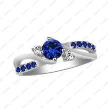 White Gold Over 925 Sterling Silver Round Cut Blue Sapphire Bypass Wedding Ring - $78.99