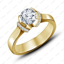 14K Yellow Gold Plated 925 Silver Round Cut White CZ Engagement Bridal Ring - £49.61 GBP
