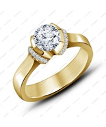 14K Yellow Gold Plated 925 Silver Round Cut White CZ Engagement Bridal Ring - £52.63 GBP