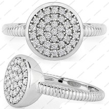 925 Sterling Silver Elliot Circle Prong Set White Cubiz Zircon Cocktail Ring 6 7 - £32.10 GBP