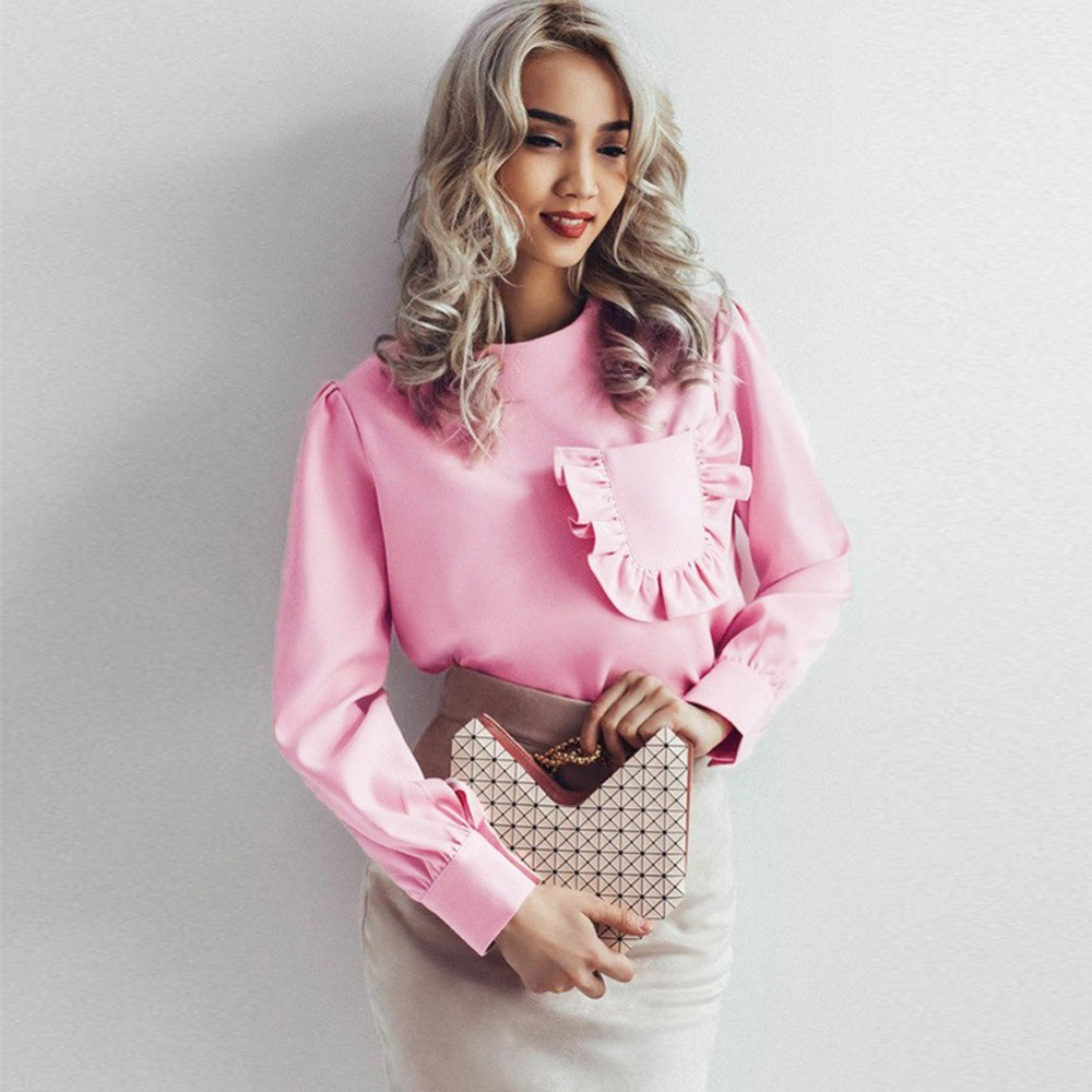 2018 Autumn Fashion Clothes Women Long Sleeve Ruffles Pockets Blouse Round Neck