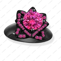 2.23 ct Pink Sapphire Black Gold Plated 925 Silver Lotus Flower Engagement Ring - $87.99