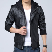 Men's fashion fabric hooded leather jacket, Mens black leather jacket wi... - $159.99+