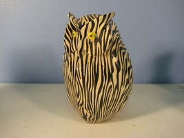 Owl Figurine Zebra Striped Yellow Eyes Weird Ceramic - $6.92