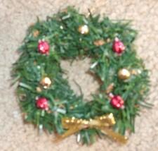 New handmade Christmas ornament - life-like mini wreath with gold metall... - $6.99