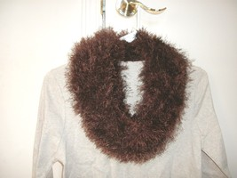 Handmade knitted boa infinity scarf fun fur eyelash fringe chocolate brown - $12.99
