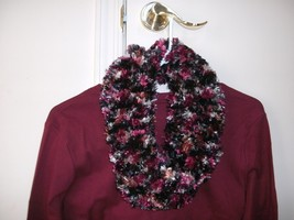 Handmade knitted boa infinity scarf fun fur eyelash fringe burgundy black - $12.99