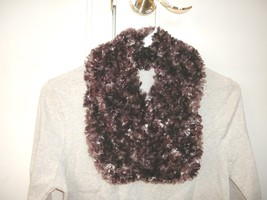 Handmade knitted boa infinity scarf fun fur eyelash fringe beige brown t... - $12.99