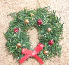 New handmade Christmas ornament - life-like mini wreath with red satin bow - $6.99