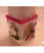 Faux Stained Glass cube Christmas votive tealight holder angel candle + ... - $15.99