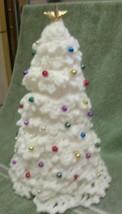 Handmade crocheted white table top desktop tree with tiny shiny balls - $19.99