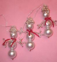 New handmade pearl snowman Christmas snowmen ornaments - lot of 3 - $8.99
