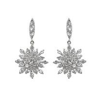 Pave Snowflake Dangle Clear Cubic Zirconia Dangle Earrings 19 Mm - $34.64