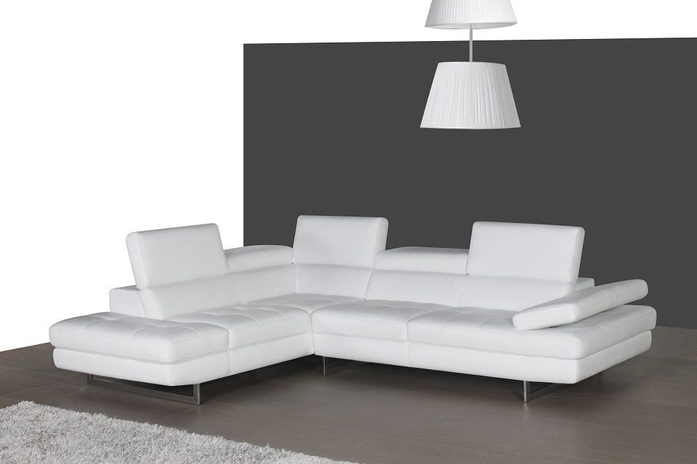 J&M A761 White Full Top Grain Leather Italian Sectional Sofa Modern Left