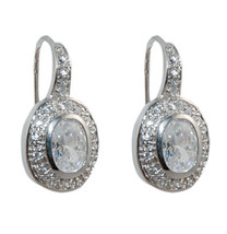 Pave & Solitaire Oval Shape Clear Cubic Zirconia Hoop Huggie Earrings - $24.74