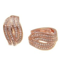 14K ROSE VERMEIL 4 ROW BYPASS CZ HOOP EARRINGS-925-BRIDAL - $49.49