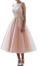 Fanmu Sleeveless Tea Length Tulle Homecoming Dresses Bridesmaid Dress Pink US 10 - $85.99