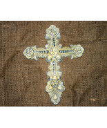 Ornate Inspirational Ivory Cast Iron Country Cross - $12.50