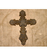 Ornate Inspirational Brown Cast Iron Country Cross - $12.50