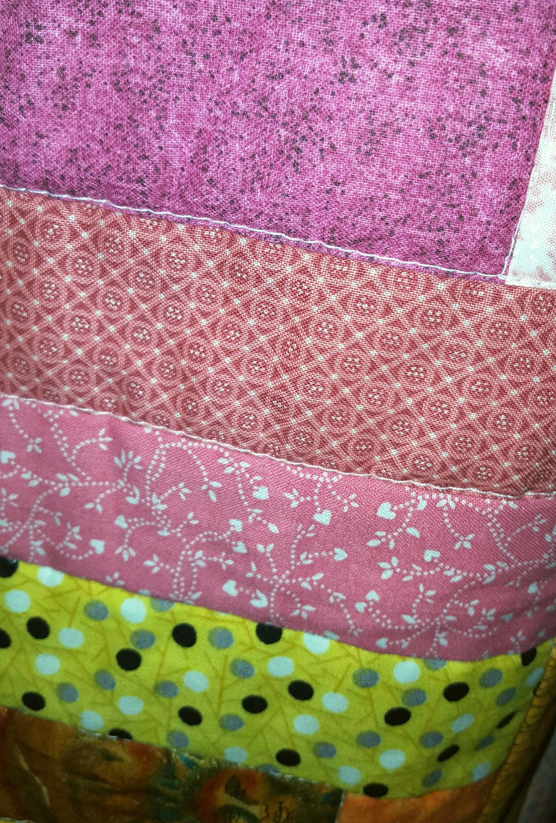 Handmade Quilted Tapestry/Blanket by Betty Joe (pink, white, yellow)