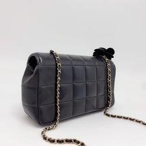AUTHENTIC CHANEL Lambskin Camellia Mini Flap Black Flap Bag GHW image 2