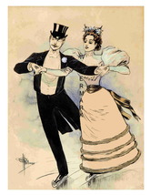 COUPLE SKATING Rare 1890, 13 x 10 inch Musee Grevin Advertising Giclee C... - $19.95