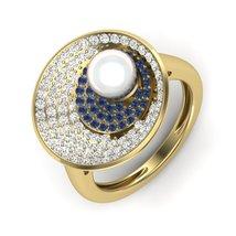 June Birthstone Ring Diamond Engagement Ring Freshwater Pearl Promise Ri... - $689.99