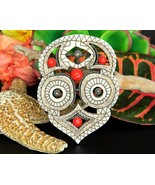 Vintage Etched Totem Owl Tribal Mask Brooch Pin Carved Handcrafted - £41.76 GBP