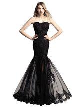 Women's Long Lace Applique Meimaid Evening Dresses Tulle Mermaid Formal Dress - $125.99