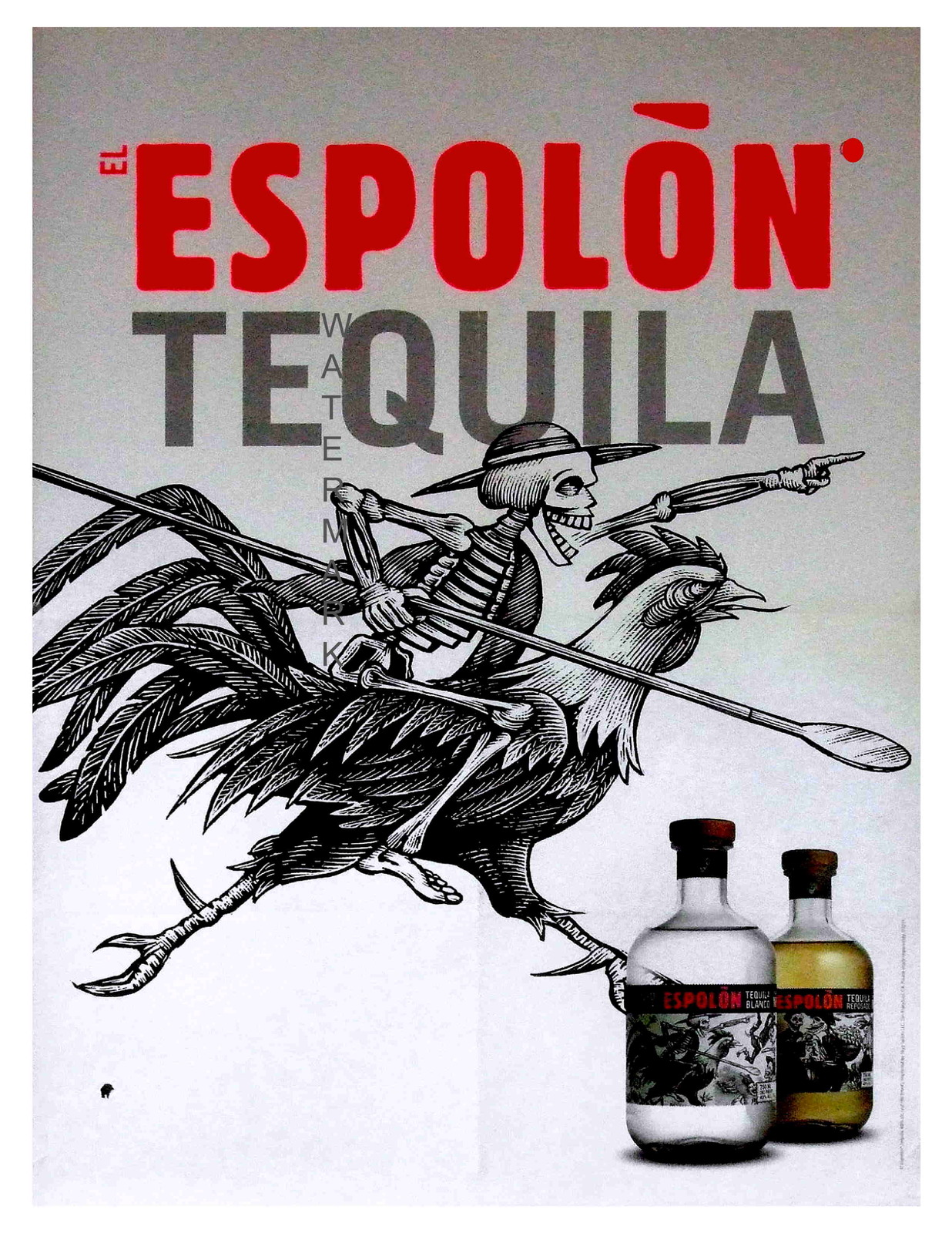 ESPOLON TEQUILA, Rare 1890 13 x 10 inch Advertising Giclee Canvas Print