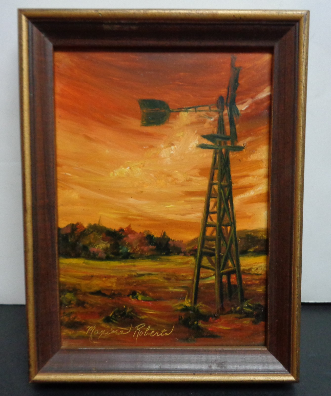Oil Painting Signed by Artist Maxine Roberts WIND AND SUN 1975 Wood Frame
