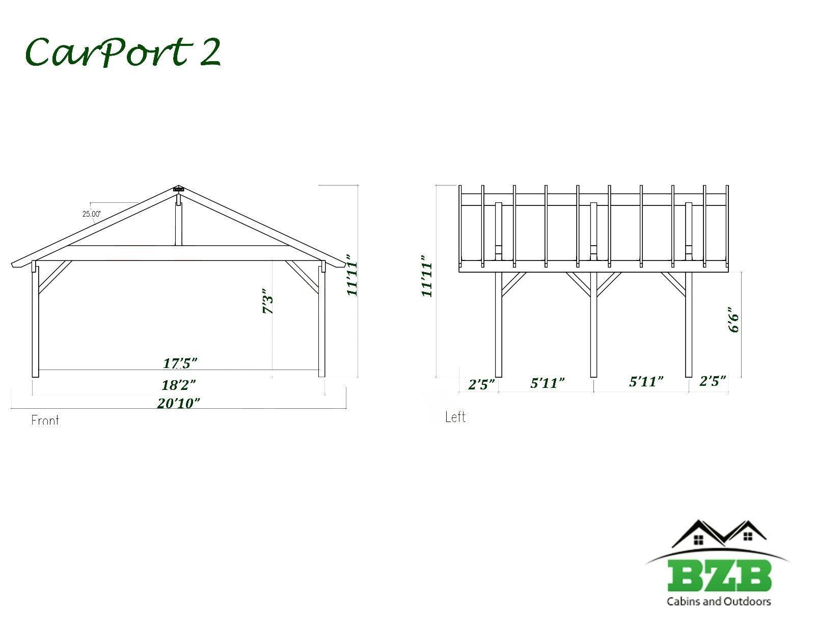 18'x12' BZBCabins CarPort2, Wooden Carport Garage, Car ...