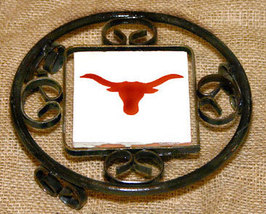Black Iron Metal Trivet with Texas Longhorn Tile - $15.99