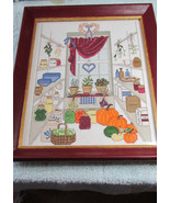 Handmade Cross Stitch Picture Kitchen Window - $19.99