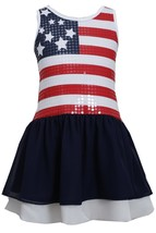 Little Girl 2T-6X Red White Blue Spangle Stars Stripes Americana Patriotic Dress