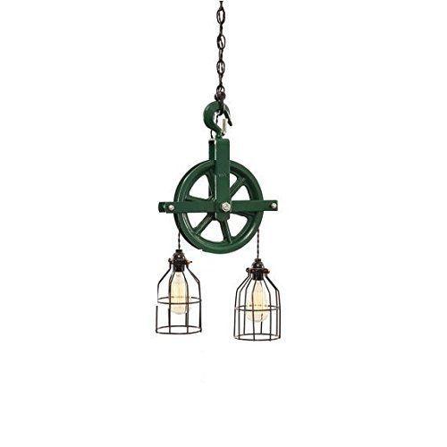 John Deere Light Fixture : John deere green barn pulley light steampunk rustic
