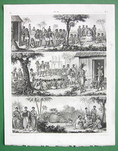 AFRICA Natives Abyssinia Kongo Chiefs Sacrifices - SUPERB Antique Print ... - $17.82