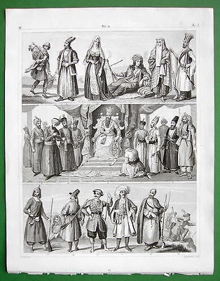 COSTUME of Persians Afghans Kurds  - SUPERB Antique Print Engraving