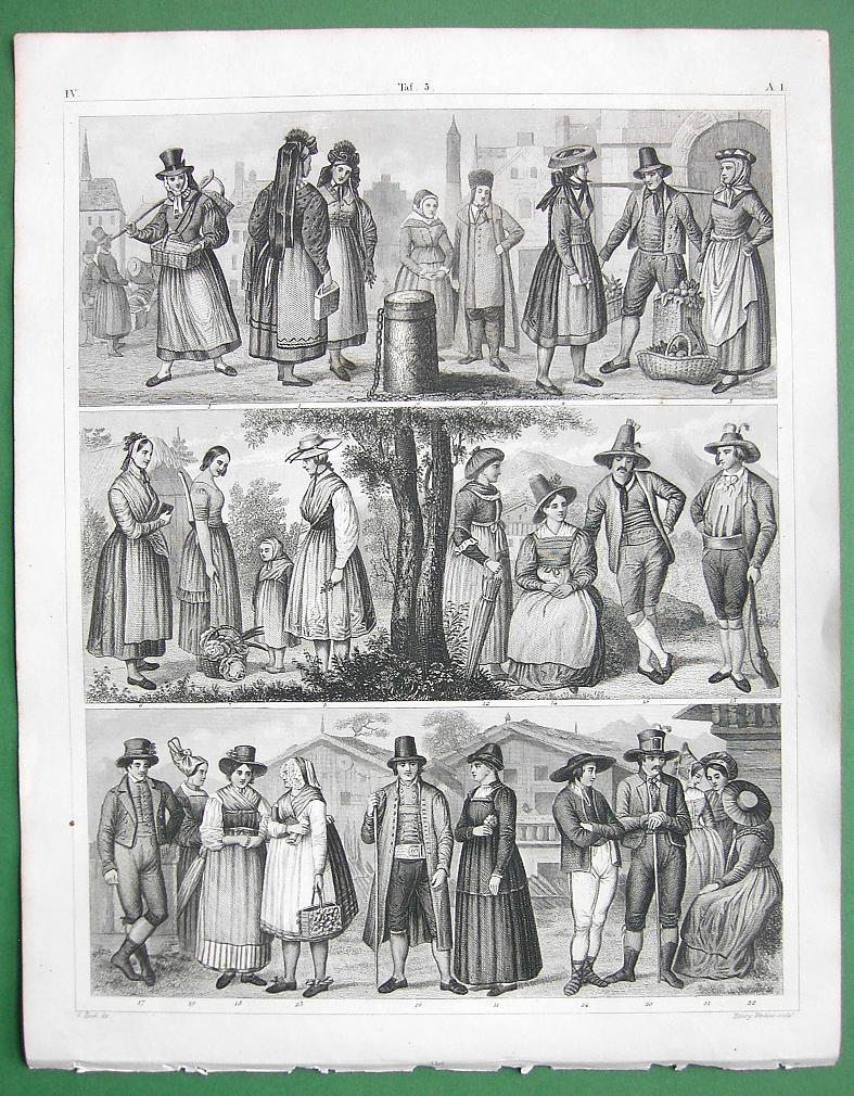 COSTUME of Austria Germany Bohemia Silesia Tyrol - SUPERB Antique Print