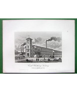 WORCESTER MA Earle & Co Card Clothing Factory !! 1876 Antique Print  Eng... - $13.86