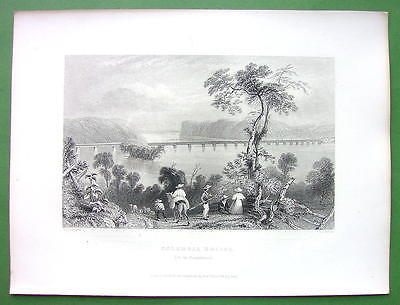 SUSQUEHANNA RIVER & AD for Boiler Makers CIncinnati Ohio - 1853 Original Print