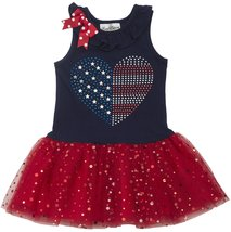Little Girls 2T-6X Jeweled Heart Flag Sparkle Tutu Americana Patriotic Dress