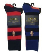 NWT Polo Ralph Lauren Men's 2 Pack Striped Rugby Style Socks - Shoe Size... - €14,12 EUR